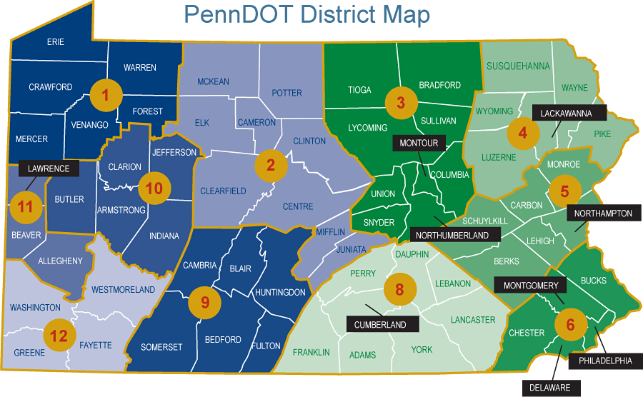PennDOT District Map